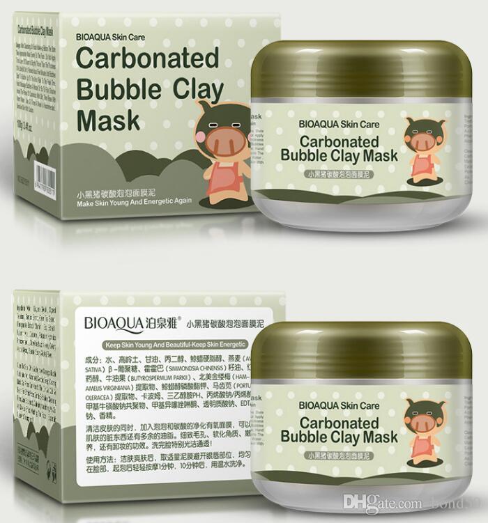 48 قطع bioaqua خنزير الغازية فقاعة الطين قناع 100 جرام إزالة أسود الرأس الجلد المسام الوجه الرعاية الوجه النوم قناع bioaqua الجلد الرعاية