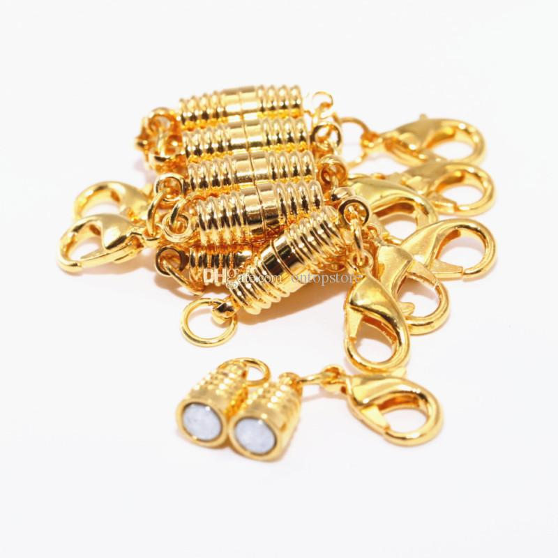 Gold Lobster clasp + golden thread magnetic buckle bracelet necklace clasp 17*5mm