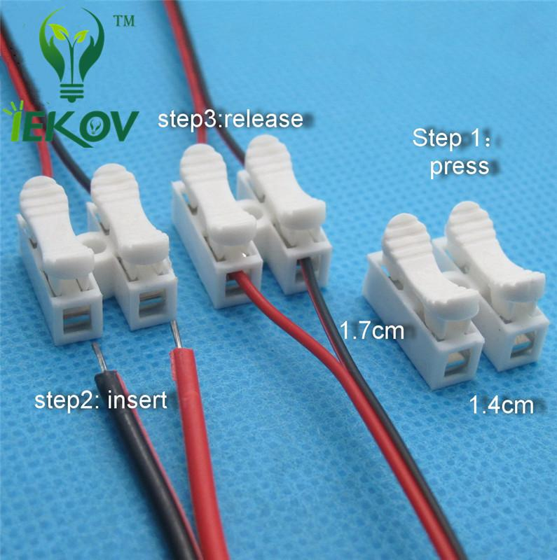 2p Spring Connectors wire with no welding no screws Quick Connector cable clamp Terminal Block 2 Way Easy Fit for led strip