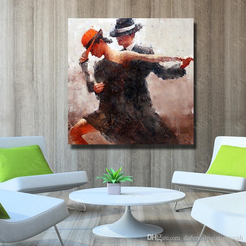Мужчина и Женщина Танго Картина Маслом Украшения Дома Настенные Панно Ручной Росписью Современная Живопись на Холсте Без Рамки