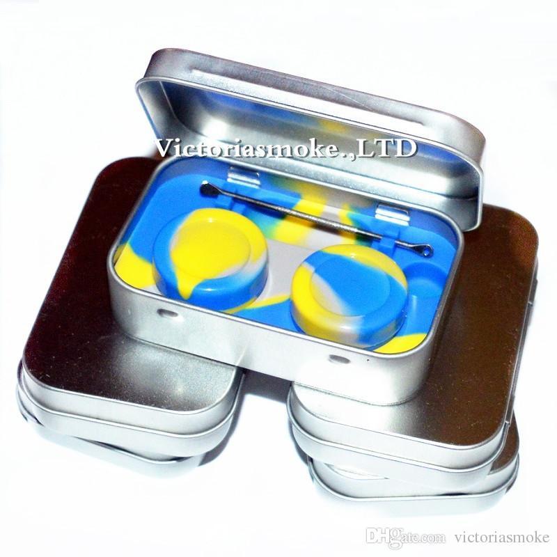 DHL Free 4 en 1 Kit de Almacenamiento de Silicona de Metal Estaño con 2 unids 5 ml Aceite de Silicona Contenedor Base de Aceite Jar Base Dab Dabber Herramienta de Metal caja