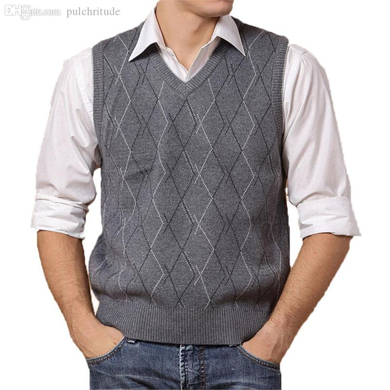 ec4b3325327ec 2019 Wholesale Men Sleeveless Sweaters And Pullovers Knitted Vest Autumn  Winter V Neck Wool Upscale Mens Jumper Sweater Vest Men Brand Clothing From  ...