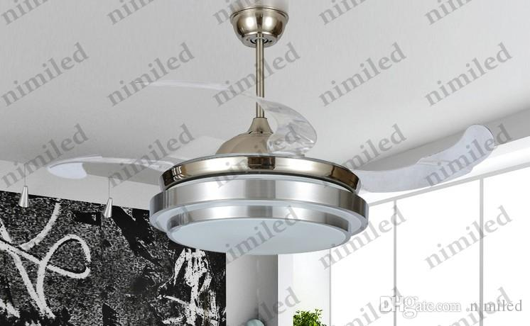 "nimi904 36""/42"" Invisible Dining Room Living Room Bedroom LED Retractable Ceiling Fan Lights Chandelier Pendant Lamp Lighting Remote Control"