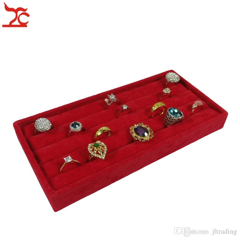 High Quality Red Velvet Small Ring Tray Case Earring Stud Cufflinks Display Box