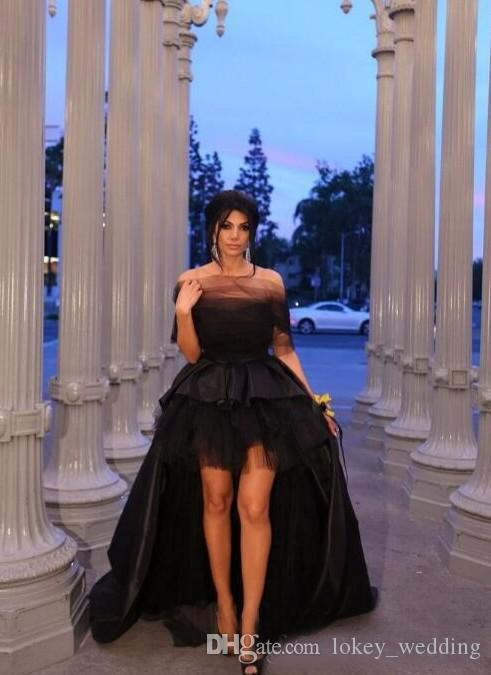 c5f1be7fcd6 High Low Black Prom Dresses Long Formal Off The Shoulder A Line Satin Tulle  Evening Gown Sweep Train Special Occasion Dresses Prom Dresses Liverpool  Prom ...
