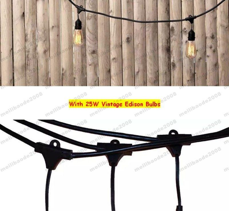 NEUE Vintage Edision Outdoor kommerzielle Lichterketten mit nostalgischen Edison-Glühlampen - 48 Fuß Lichterkette mit 15 Heavy Duty Molded MYY