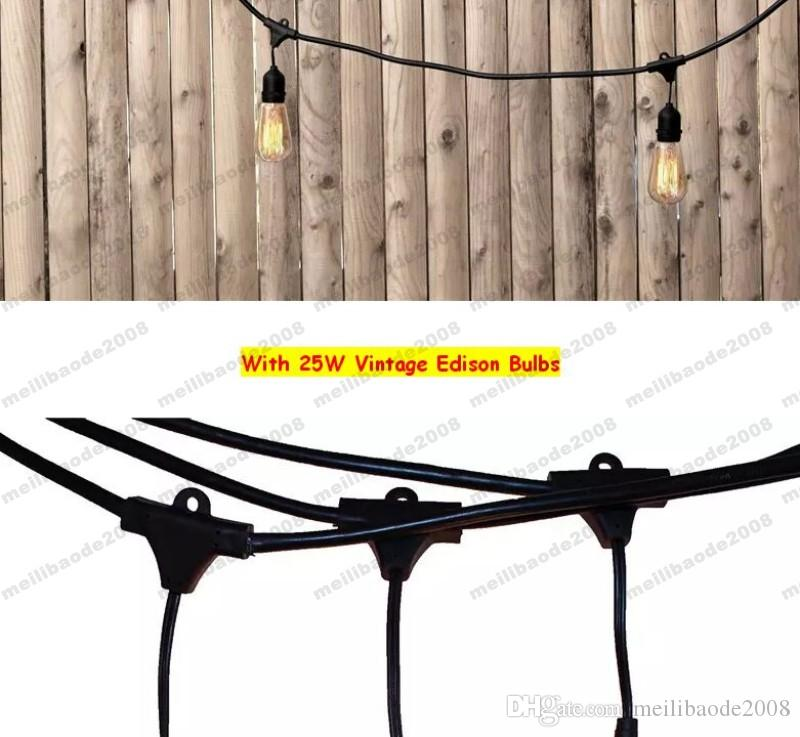 NEW Vintage Edision Outdoor Commercial String Lights with Nostalgic Edison Bulbs - 48 Feet String Light with 15 Heavy Duty Molded MYY