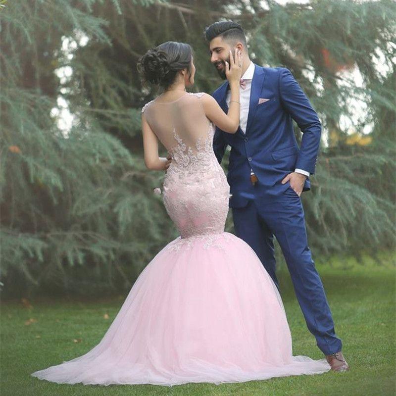 2016 Princesse Rose Sirène Robes De Mariée Cherie Sheer Tulle illusion Retour Moyen Orient Élégant Jardin Robes De Mariée Robe de Novia