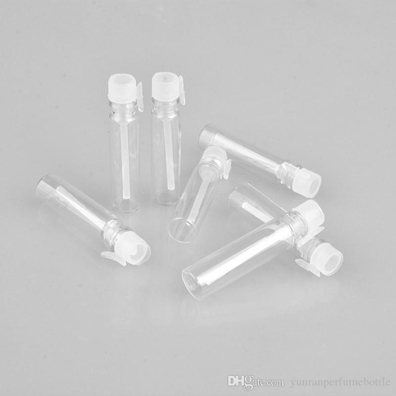 Toptan 1000 Adet / grup Sopa Ile 1 ML Mini Taşınabilir Şeffaf Cam Parfüm Şişesi Boş Deneme Paketi Için Boş Uçucu Yağlar Flakon