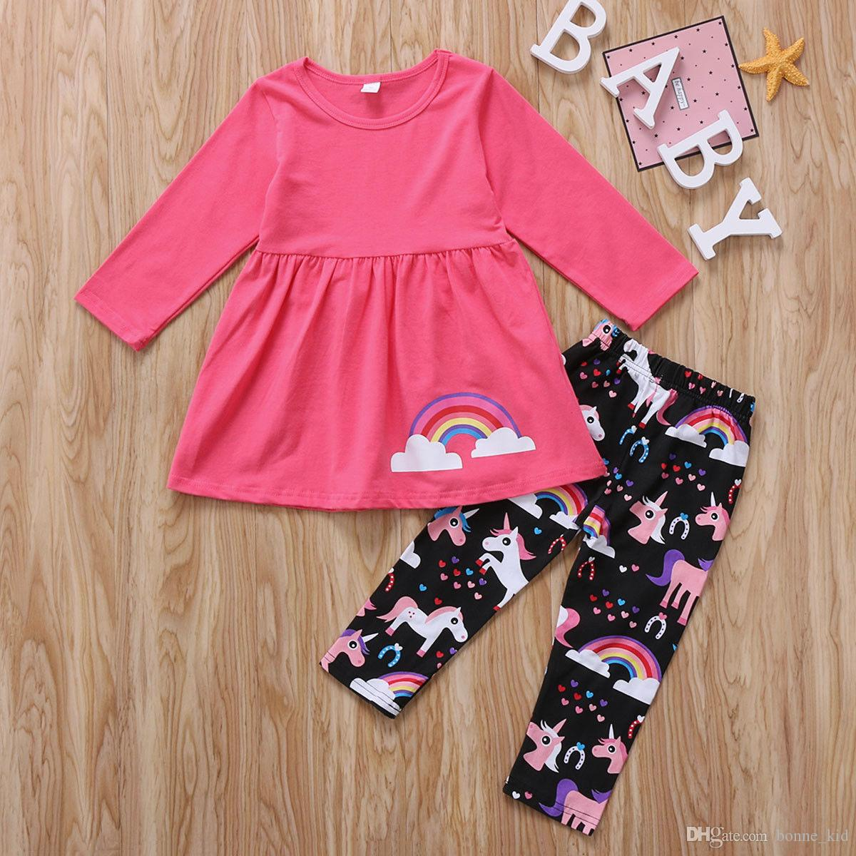 e04c79850 Baby girl clothes outfit unicorn rainbow pink T-shirt top + pant 2 pieces a  set lovely girls kid clothing preppy dress wholesale suits