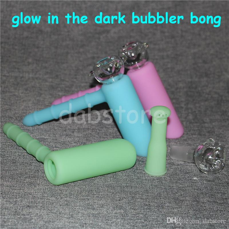 Lueur dans le sombre marteau Bong Silicone Bubblers bong Recycler 18.8mm Bubbler Silicone Marteau Narguilés Incassable Avec Bol En Verre DHL