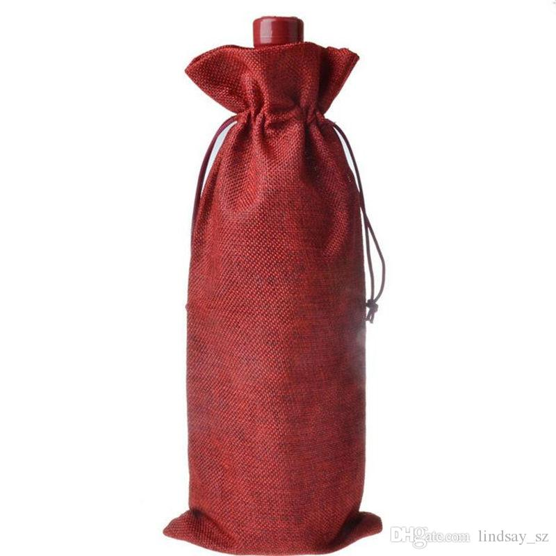 Novos Sacos De Vinho De Juta Garrafa De Vinho De Champanhe Abrange Presente Saco de serapilheira Embalagem saco de Festa de Casamento Decoração Sacos De Vinho tampa Cordão rápido