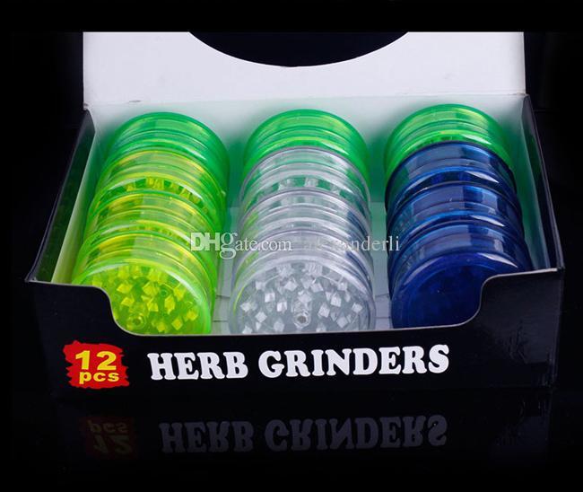 Precio de fábrica Molinillos de plástico 57mm Herb Grinder 3 unidades Molinillo de tabaco para fumar Plástico acrílico Dry Herb Grinder Detectores de humo