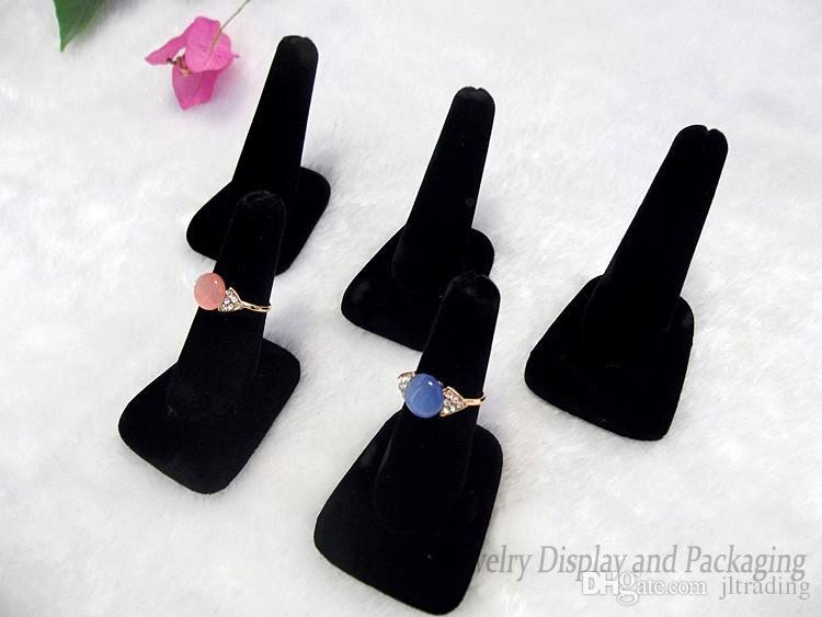 Оптовая ювелирные изделия дисплей симпатичные 5 шт. Черный Бархат / Белый кожа палец форма ювелирные изделия кольцо стенд держатель стойки бесплатная доставка