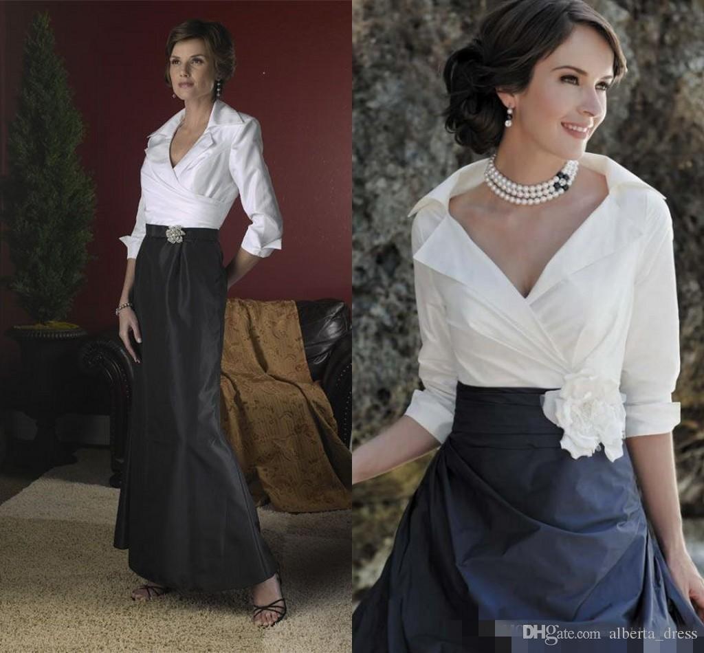 신부 드레스의 흑백 우아한 어머니 긴 소매 바닥 길이 Taffeta 인어 라인 정장 드레스 이브닝 가운 2020 봄