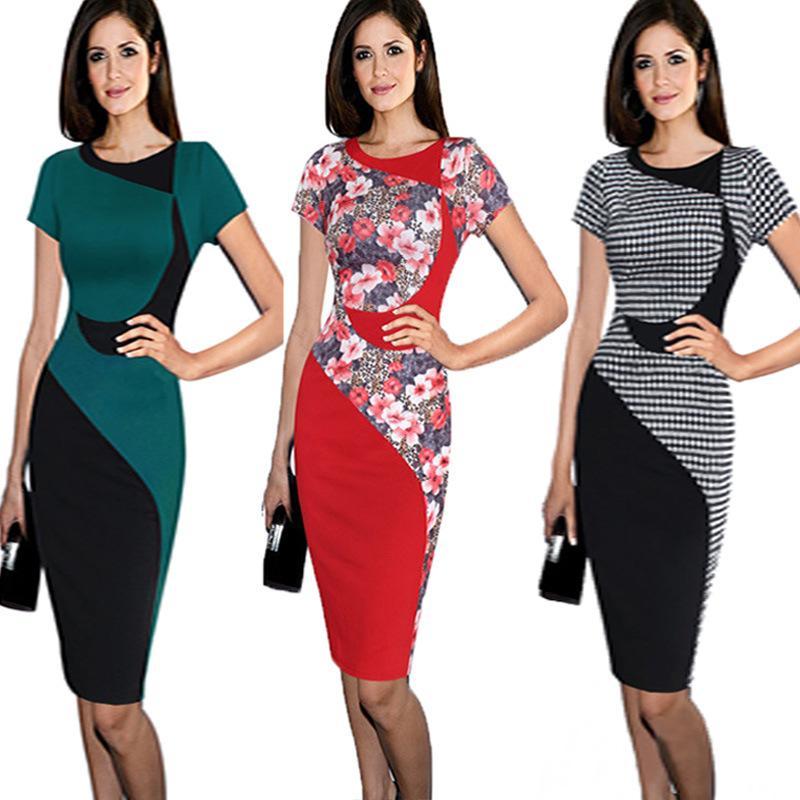 abb93693c873 2019 New Arrival Plaid Floral Sheath Dress Women Office Work Dresses O Neck  Short Sleeve Midi Pencil Skirt Slim Bandage Dress MNDF0513 From Hhwq105