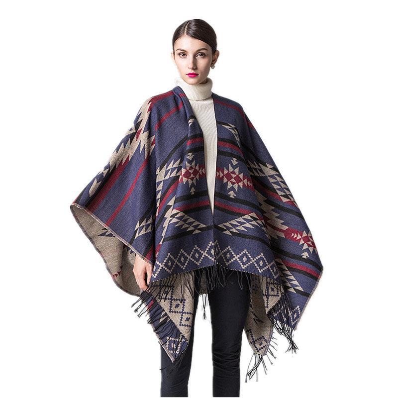 2017 Ethnic Geometric Shawl Women Bohemia Cashmere Tassel Poncho ...