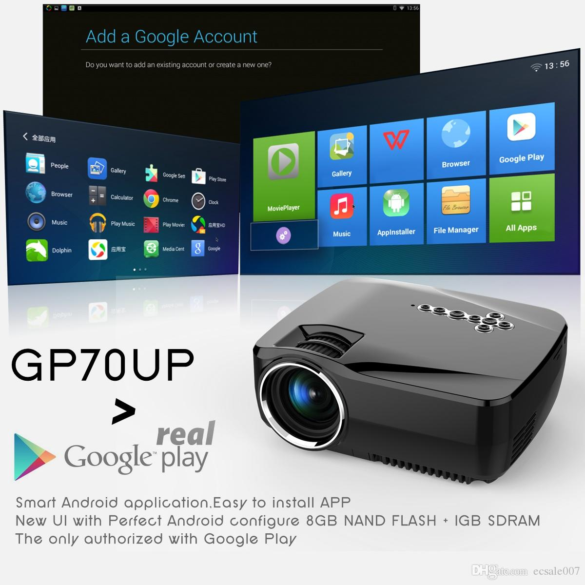 GP70UP مايكرو اللاسلكية العارض 1200 شمعة مع نظام التشغيل أندرويد 6.0 ، واي فاي العارض سعر الجملة
