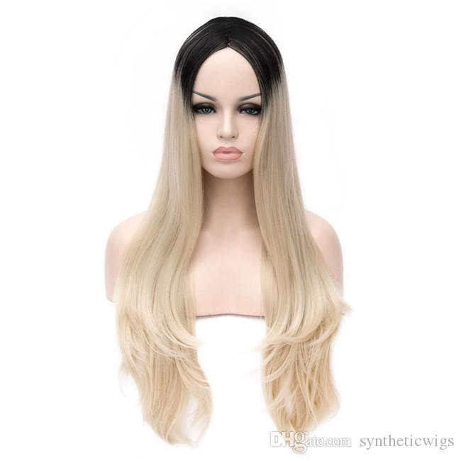 WoodFestival long straight wig black blonde wig ombre synthetic wigs cosplay hair high quality heat resistant wigs for women