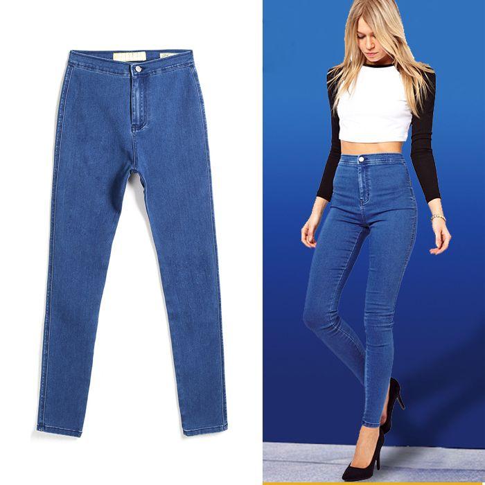 95dc40975fad 2019 Ladies High Waist Denim Jeans Slim Fit Blue Jean Pencil Pants Skinny  Stretchy Cotton Leggings Boyfriend Jeans BSF0332 From Hhwq105, $20.91 |  DHgate.Com