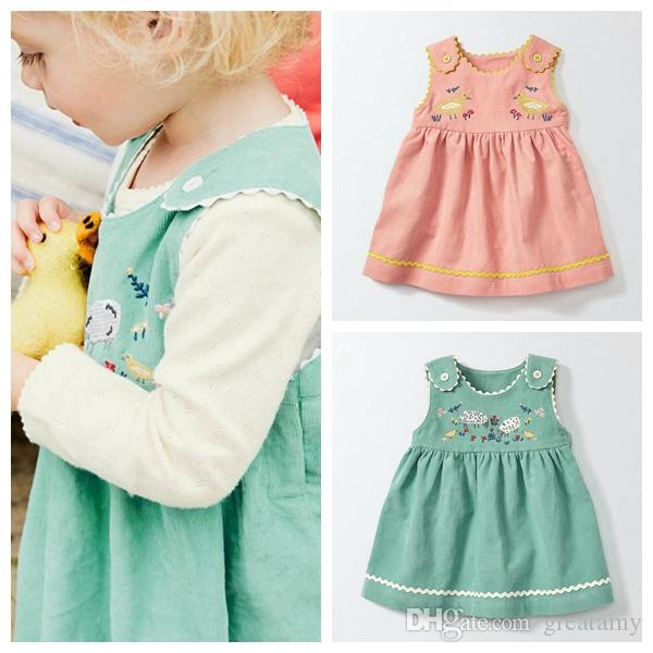 2017 Fashion Autumn baby girls vase dress kids girls embroidered elastic force corduroy skirt baby cute sleeveless bowknot dress
