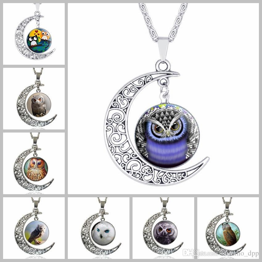64 styles Argent collier de pierre de lune hibou Fleur arbre de vie Cabochon verre Charms lune et étoile pendentif colliers Pour femmes Bijoux De Mode