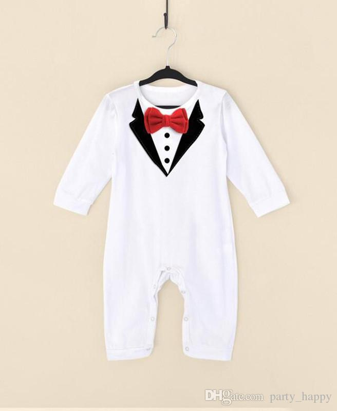Little Gentleman Conjoined Clothes Men Baby Boy Wedding Christening Formal Bow Smart Suit Outfit Tuxedo Jumpsuit Boys Wedding Suits