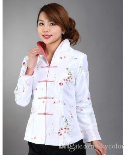 Traditional Chinese Women's Embroidery Silk Jacket Coat Cheongsam Size 6 8 10 12 14 16 Red White Blue