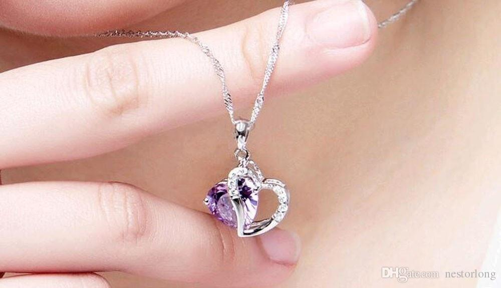 2016 Sell like hot cakes Top Class lady fashion heart pendant necklace amethyst crystal jewelry