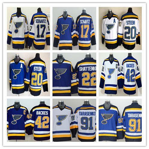 sale retailer 4587d 064f7 2017 St. Louis Blues Hockey Running Jerseys Cheap 42 David Backes 91  Vladimir Tarasenko 17 Jaden Schwartz 22 Shattenkirk 20 Alexander Steen