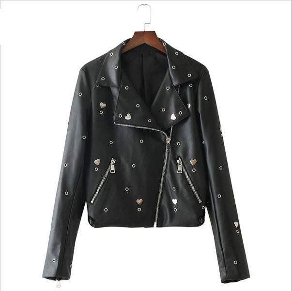 Compre 2018 Nuevo Águila Bordado Lentejuelas PU Chaqueta De Cuero Mujeres  Ojal Corazón Tachonado Faux Leather Biker Chaqueta Negro Abrigo Femenino A   46.79 ... ce252f03a8f