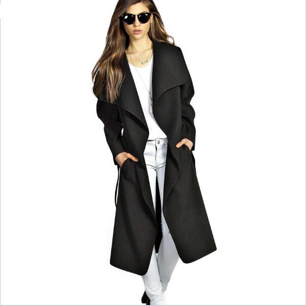2017 Abrigo de invierno Mujeres Ancho Solapa Cinturón de Mezcla de Lana de Bolsillo Abrigo De Gran Tamaño Largo Trinchera Roja Outwear Abrigo de Lana de Las Mujeres