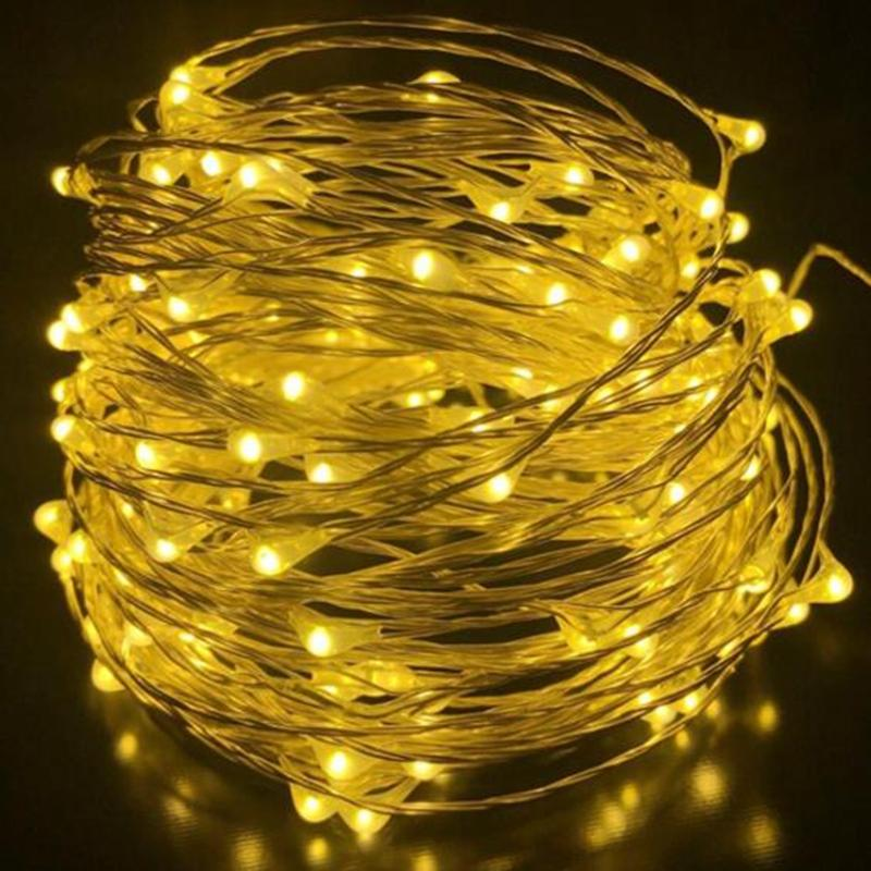 wholesale led string lights 20m30m50m dc 12v waterproof outdoor copper silver rgb wire with power supply christmas wedding party battery powered led