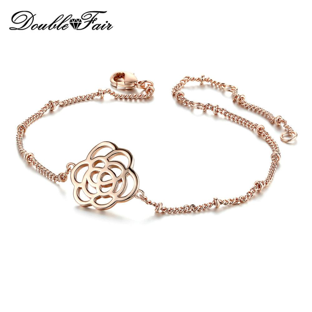 Simple Rose Flower Charm Bracelets Rose Gold Plated Fashion Wedding