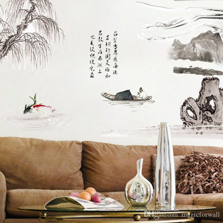 Chinese Calligraphy Weeping Willow River Boat Mountain Artificial Landscape Wall Stickers Living Room Office Wallpaper Decor Poster Wall Art