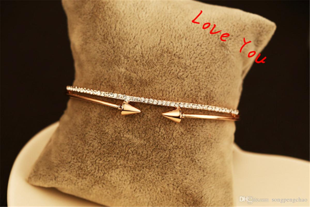 Korean Personality Double Sides Rivet Bracelets For Women Luxury Trendy Gold plated Double Chain & Link Bracelets Jewelry