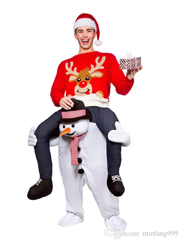 Snowman Stuffed Christmas Surprise Ride On Me Stag Mascot Carry Piggy Back Fancy Dress Costume Disco Costumes Hawaiian From Minfang999