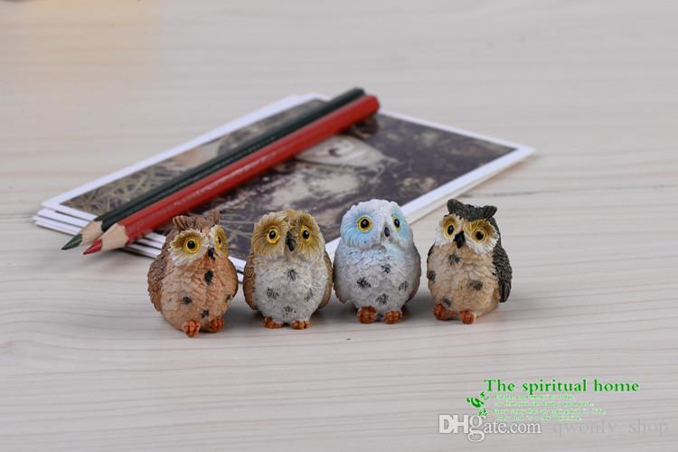 4 style Micro Mini Fairy Garden Miniatures Figurines Owl Birds Animal Action Figure Toys Ornament Terrarium Accessories Movie Props