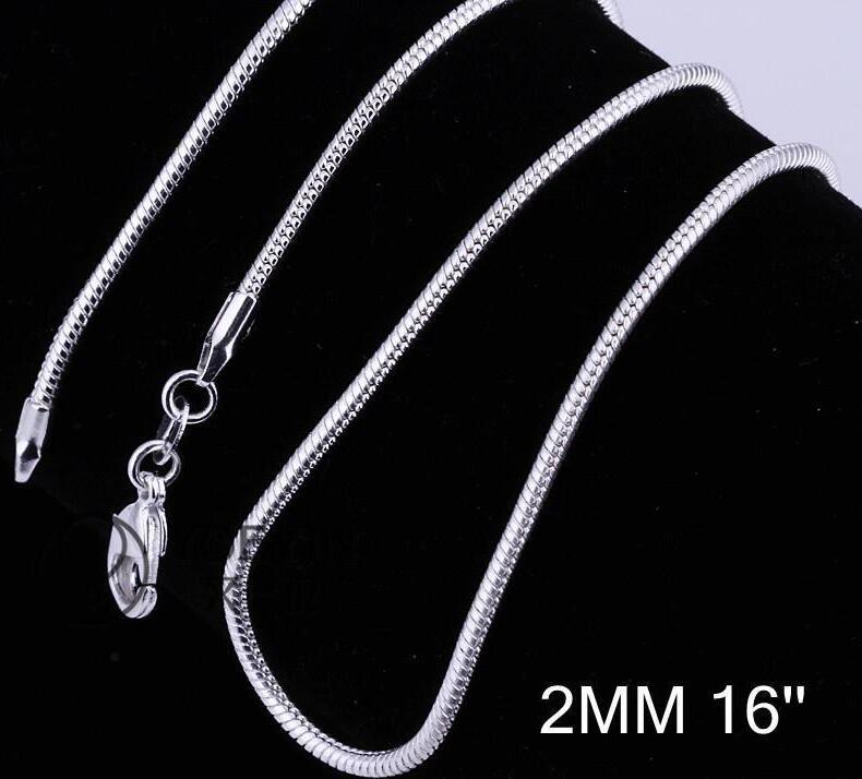2 MM 925 Sterling Silver Snake Chain Collier 16 18 20 22 24 pouces Chaînes Designer Collier Bijoux En Gros Prix Usine