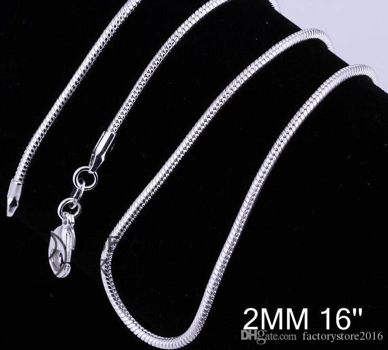 2mm 925 Sterling Argent Snake Chain Chaîne Collier 16 18 20 22 22 Chaînes de 24 pouces Collier Collier Collier Bijoux en gros Prix usine