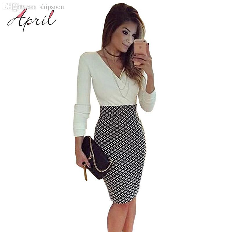 7009937964 Wholesale Sexy V Neck Long Sleeve Black And White Dress Pencil Women Formal  Dresses For Work Party Women Tunic Midi Bodycon Office Dress Denim Dress  Party ...