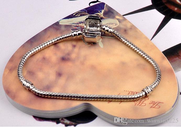 Factory 16cm-23cm Silver Plated Bracelets 3mm Snake Chain Fit Charm Bead Bangle Bracelet Jewelry Gift For Men Women