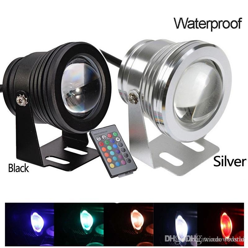 10W Waterproof RGB Led Floodlight DC12V Underwater Swimming Pool Lights Led aquarium lamp Underwater Spotlights + 24Keys IR Remote Control
