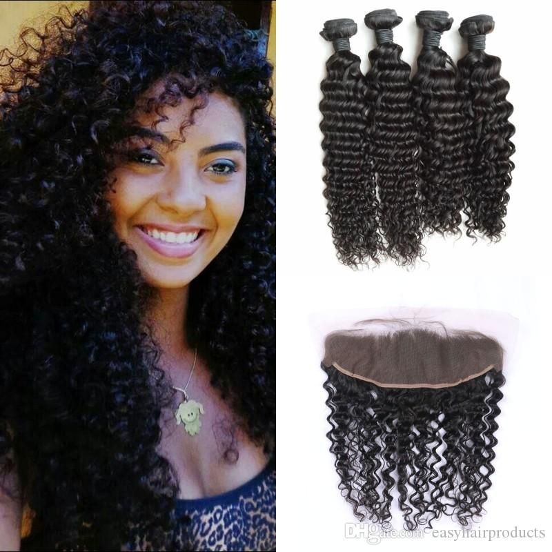 4pcs human hair bundles with frontal lace closure 13x6 virgin malaysian deep wave curly hair weaves with frontal G-EASY