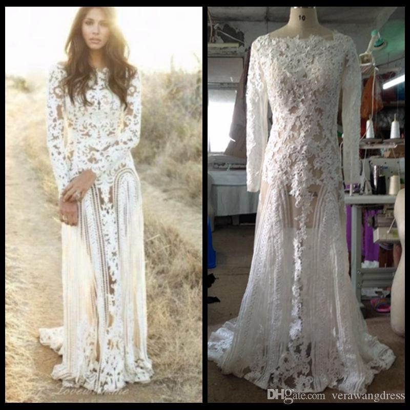Discount 2018 Sexy Vintage Wedding Dresses Long Sleeve