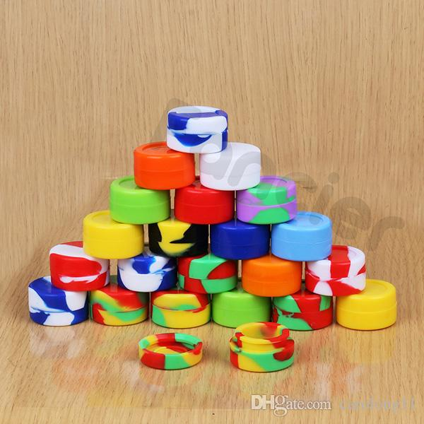 Großhandel 5 ml Antihaft-Silikon-Jar Dab Wachsbehälter für Wachs Silikon Gläser Konzentrat Fall 6 in 1 Klekse Silikon-Container