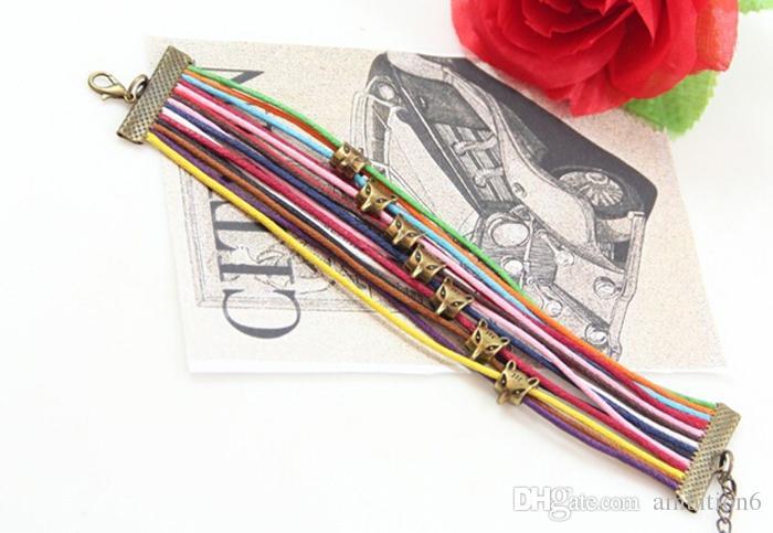 Accessori di gioielli retrò di alta qualità DIY colorato cavo di cera gufo, volpe, braccialetti di bronzo tartarughe tessuto a mano all'ingrosso di gioielli