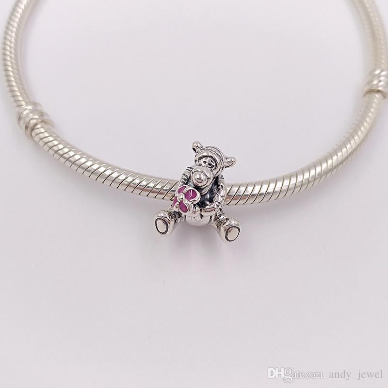 Auténticos 925 perlas de plata del encanto del tigre se adapta a las pulseras de la joyería del estilo de Pandora europeo collar 792135EN80