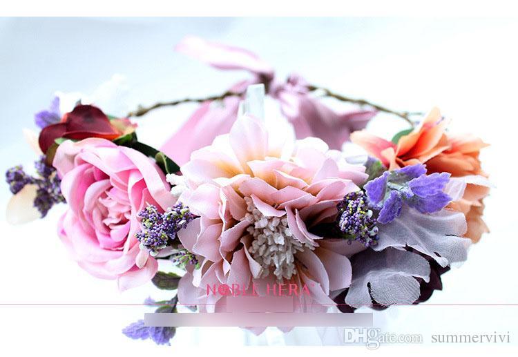 الأطفال أكاليل الزهور محاكاة البوهيمي اكليلا من الزهور إكليل الزفاف استوديو تصوير شعر الاطفال الشاطئ عقال R0290