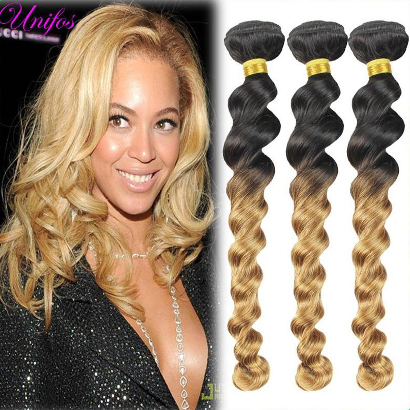 Ombre Blonde Brazilian Loose Wave Virgin Hair Ombre Hair Extensions